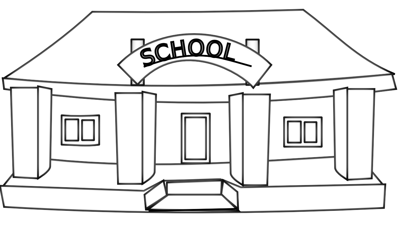School Building Black And White Clipart.