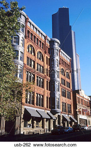 Stock Photo of Brick Office Building Seattle Washington State USA.