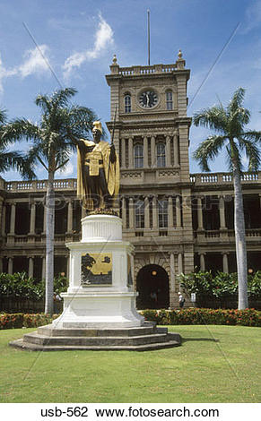 Stock Photo of Statue of King Kamehameha the Great I in front of.