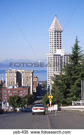 Stock Image of Smith Tower Office Building Seattle Washington USA.