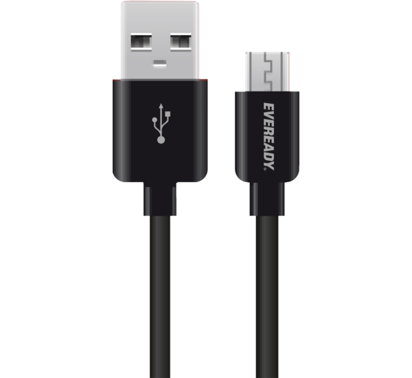 EVEREADY MICRO USB CABLE 1M BLACK, white.