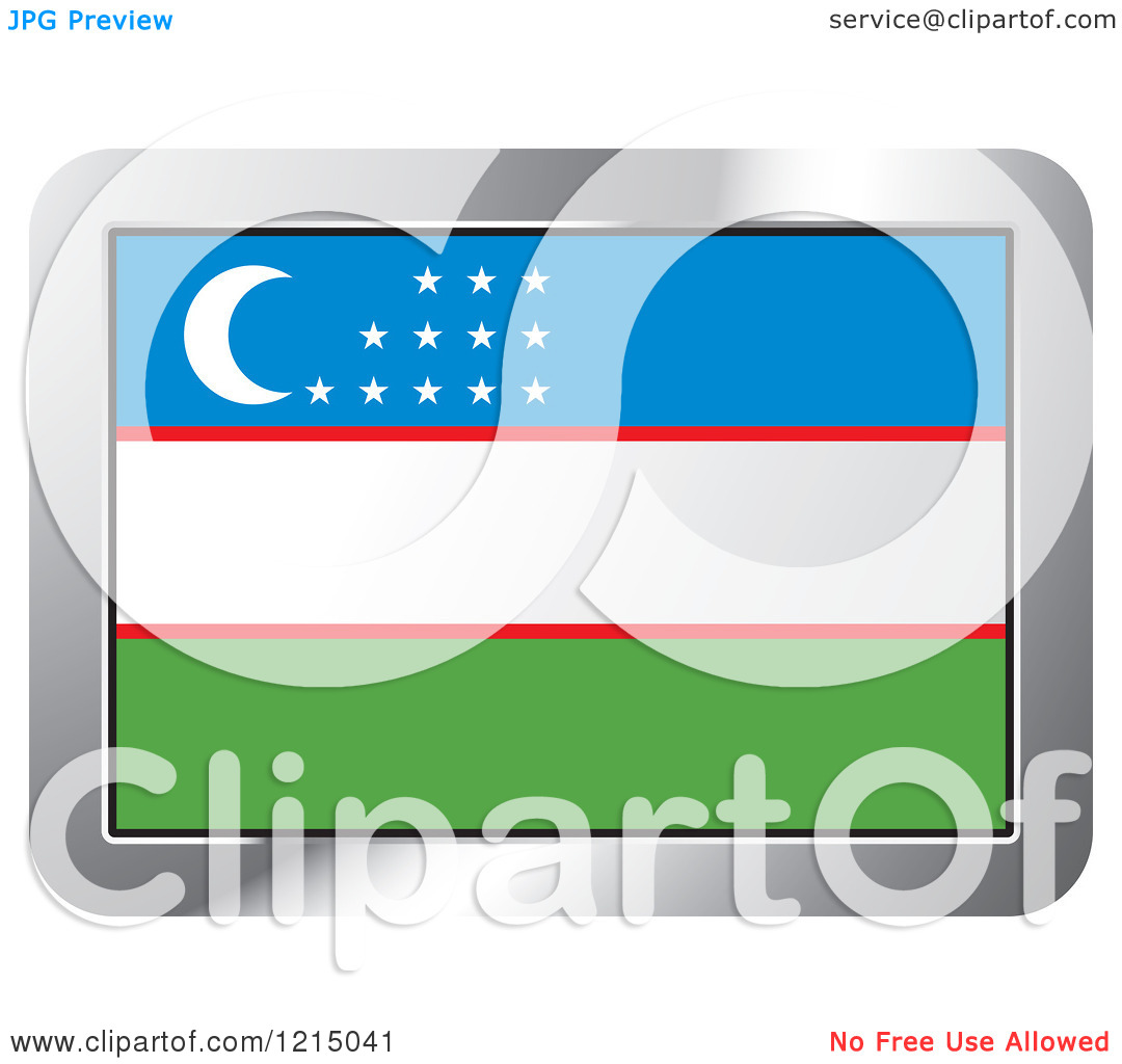 Clipart of a Uzbekistan Flag and Silver Frame Icon.