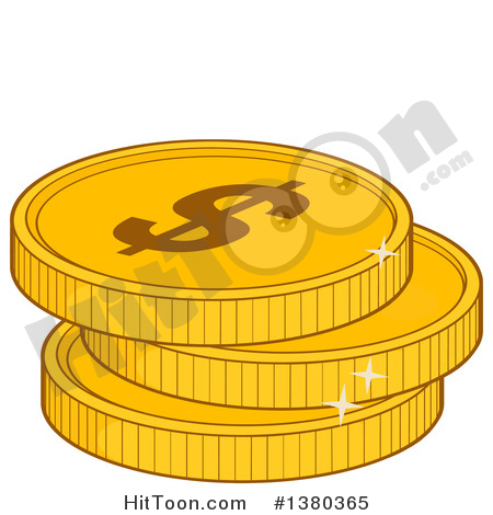 Coin Clipart #1380365: Stack of USD Dollar Gold Coins by Hit Toon.