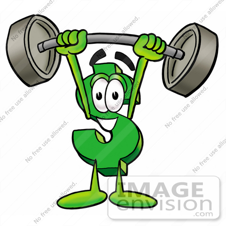 Clip Art Graphic of a Green USD Dollar Sign Cartoon Character.