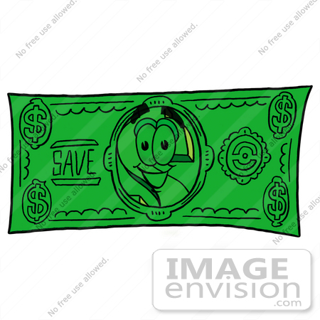 Clip Art Graphic of a Green USD Dollar Sign Cartoon Character on a.