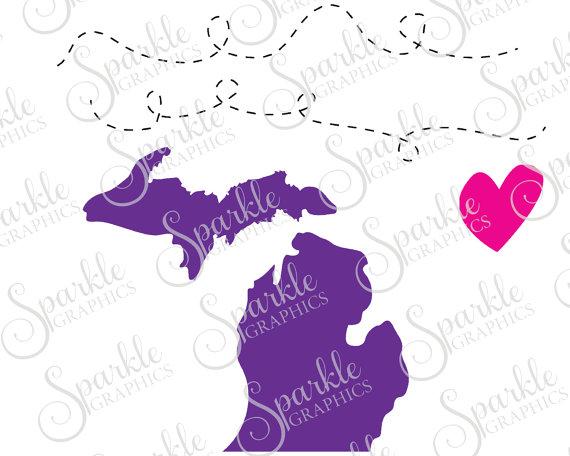 Michigan Long Distance Cut File Heart State Line Michigan SVG.