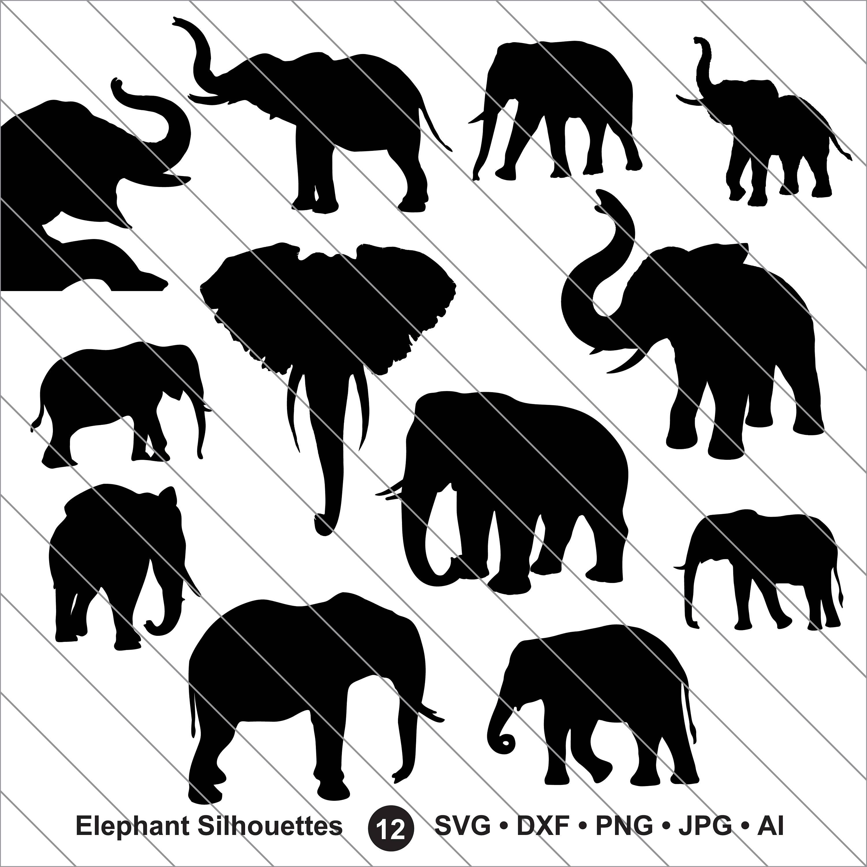 Elephant Silhouettes SVG, elephant clipart, elephant svg Cut File.