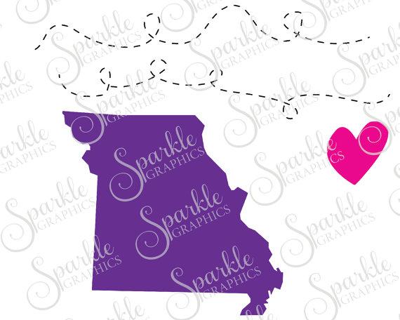 Missouri Long Distance Cut File Heart State Line Missouri States.