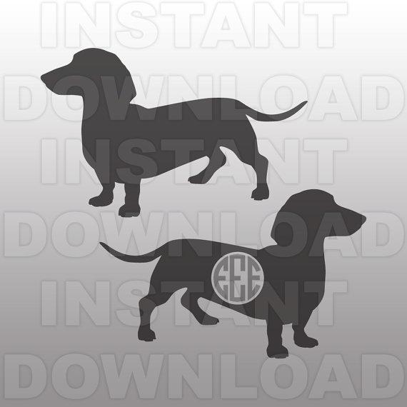Daschund SVG,Weiner Dog SVG File,Monogram SVG,Cutting Template.