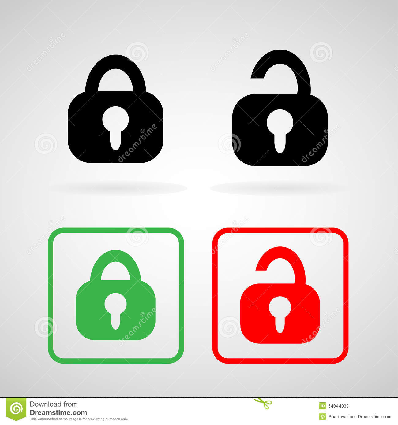 Lock And Unlock Icons Set Great For Any Use. Vector EPS10. Stock.