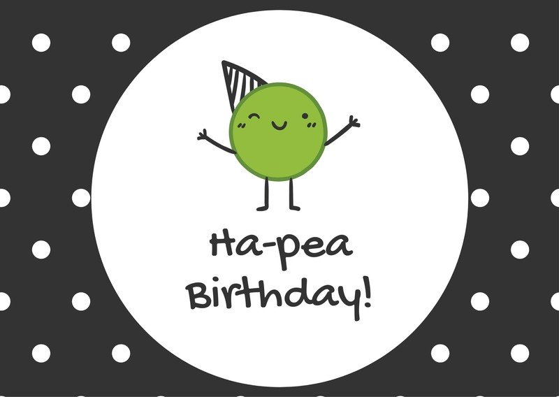 Cute Pea Birthday Card.