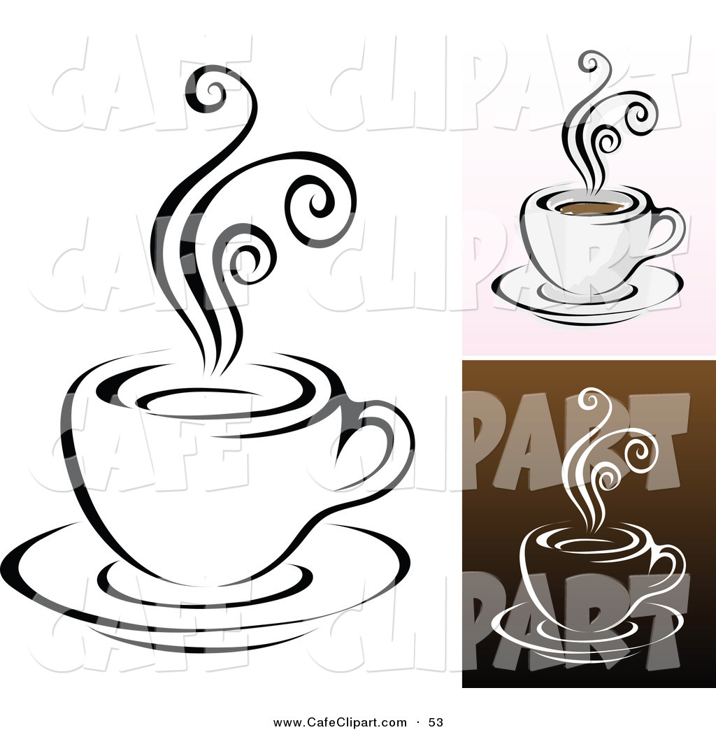 Vector Clip Art of a Digital Set of Coffee Cups with Swirly Steam.