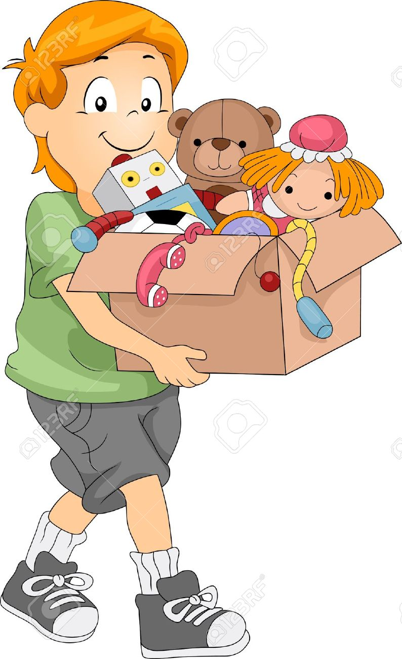 Kids picking up toys clipart.