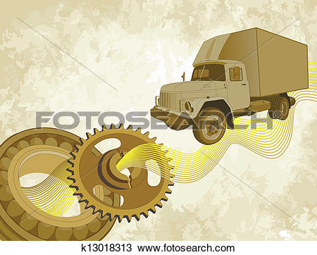 Clipart of Used truck in vintage style k13018313.