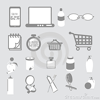 Useful Clipart Domestic Items Stock Vector.
