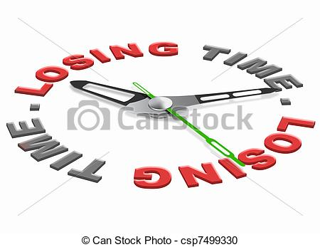 Stock Illustration of loosing time wasted hours time and minuttes.