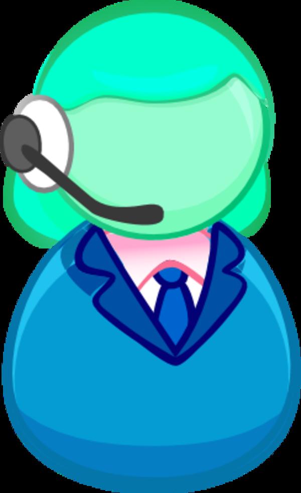 Female User Icon Ear Headset Call Center.