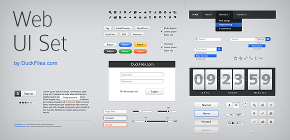 70+ user interface elements (Free PSD), Vectors.