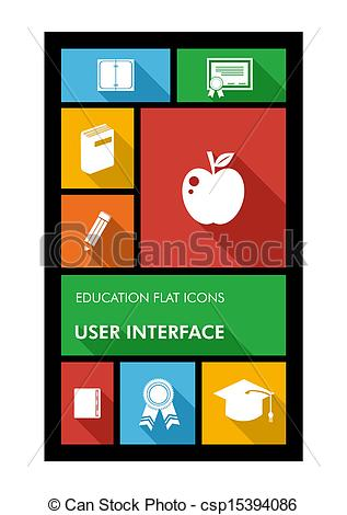 Vector of Colorful back to school user interface mobile app flat.