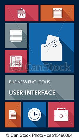Clip Art Vector of Colorful business UI apps user interface flat.