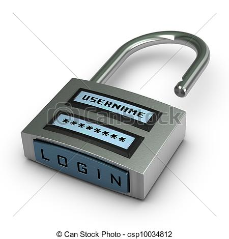 Clipart of digital padlock with username and password plus login.