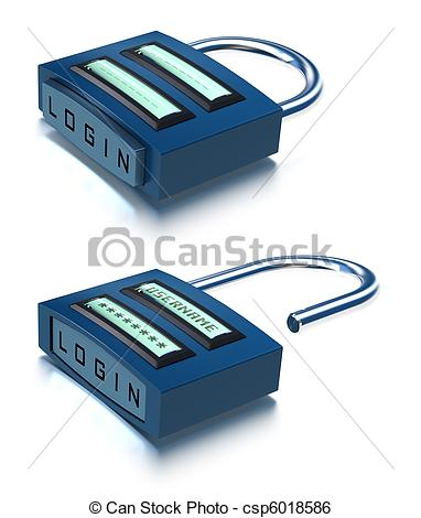 Stock Illustration of conceptual 3D padlock with username.