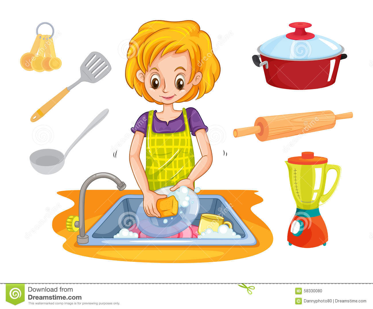 Uses Of Water For Washing Utensils Clipart.