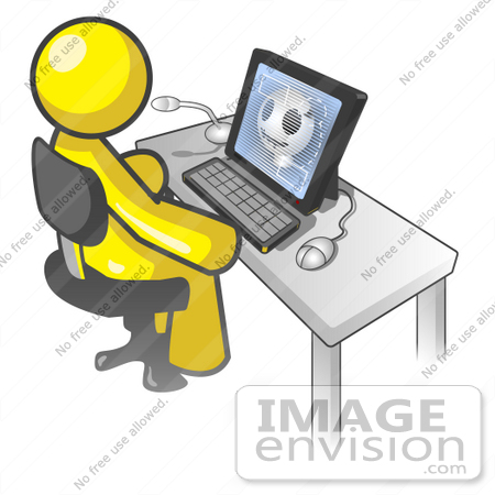 Clip Art Graphic of a Yellow Guy Character Using a Computer.