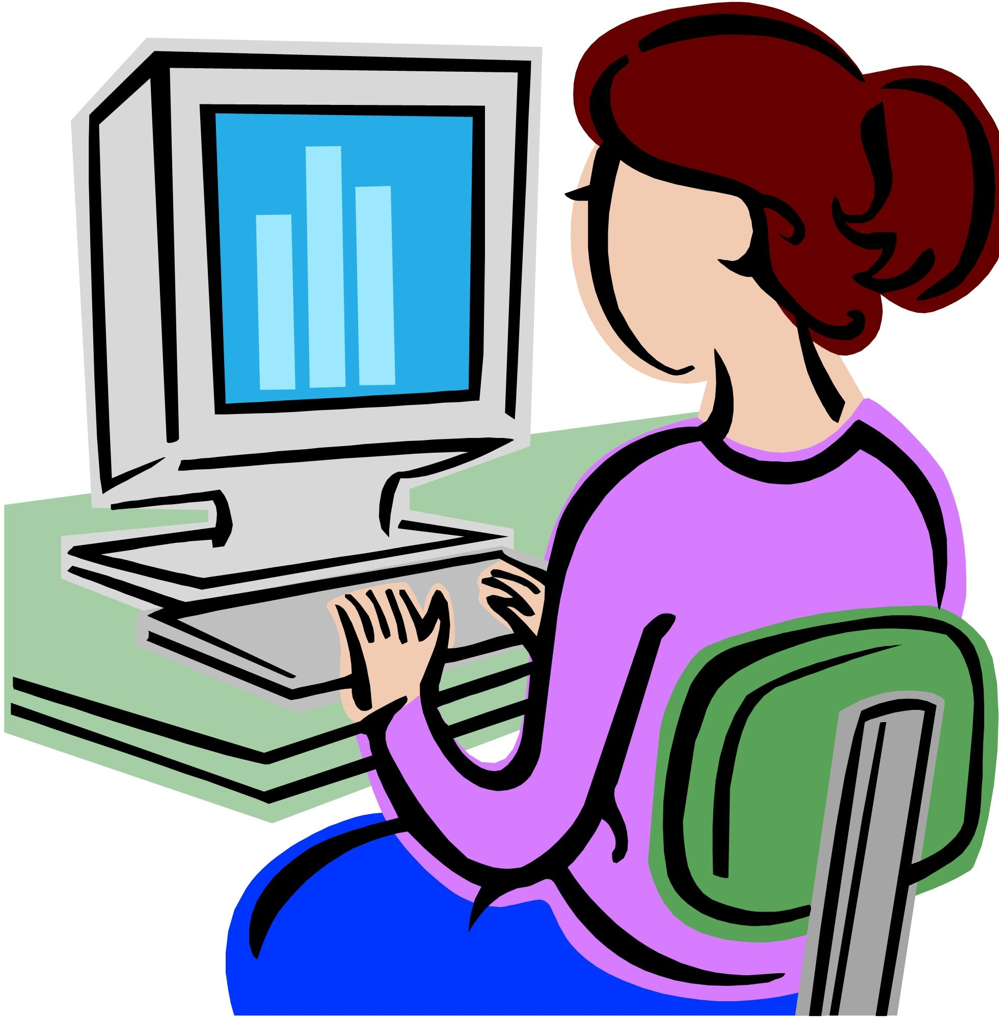 Student Using Computer Clipart.