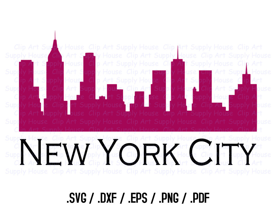 New York City Skyline Clipart Design, Use With Silhouette and.