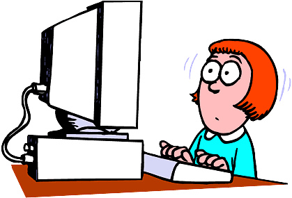 Woman Using Computer Clipart.