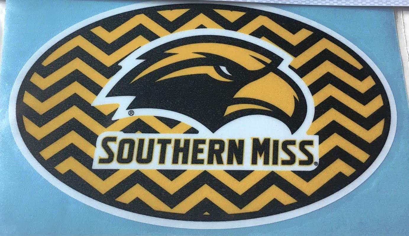 Amazon.com: Southern Miss New Logo Oval Chevron Car Decal.