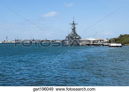Stock Photograph of Military ship in the sea, USS Arizona Memorial.