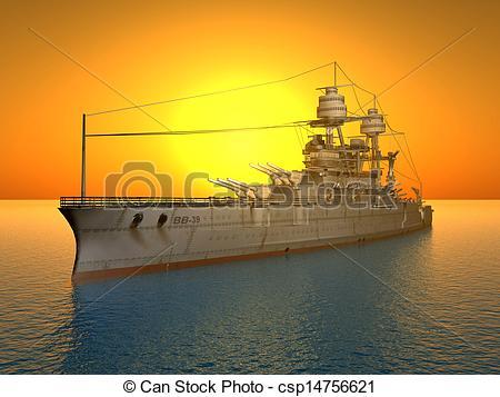 Drawings of American Battleship USS Arizona.