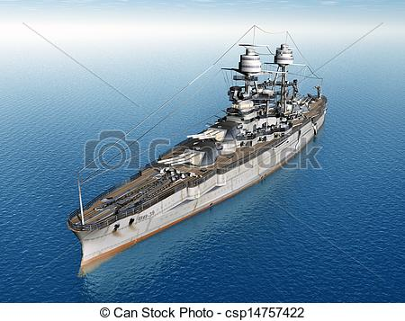 Clip Art of American Battleship USS Arizona.