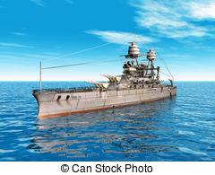 Stock Illustration of American Battleship USS Arizona.