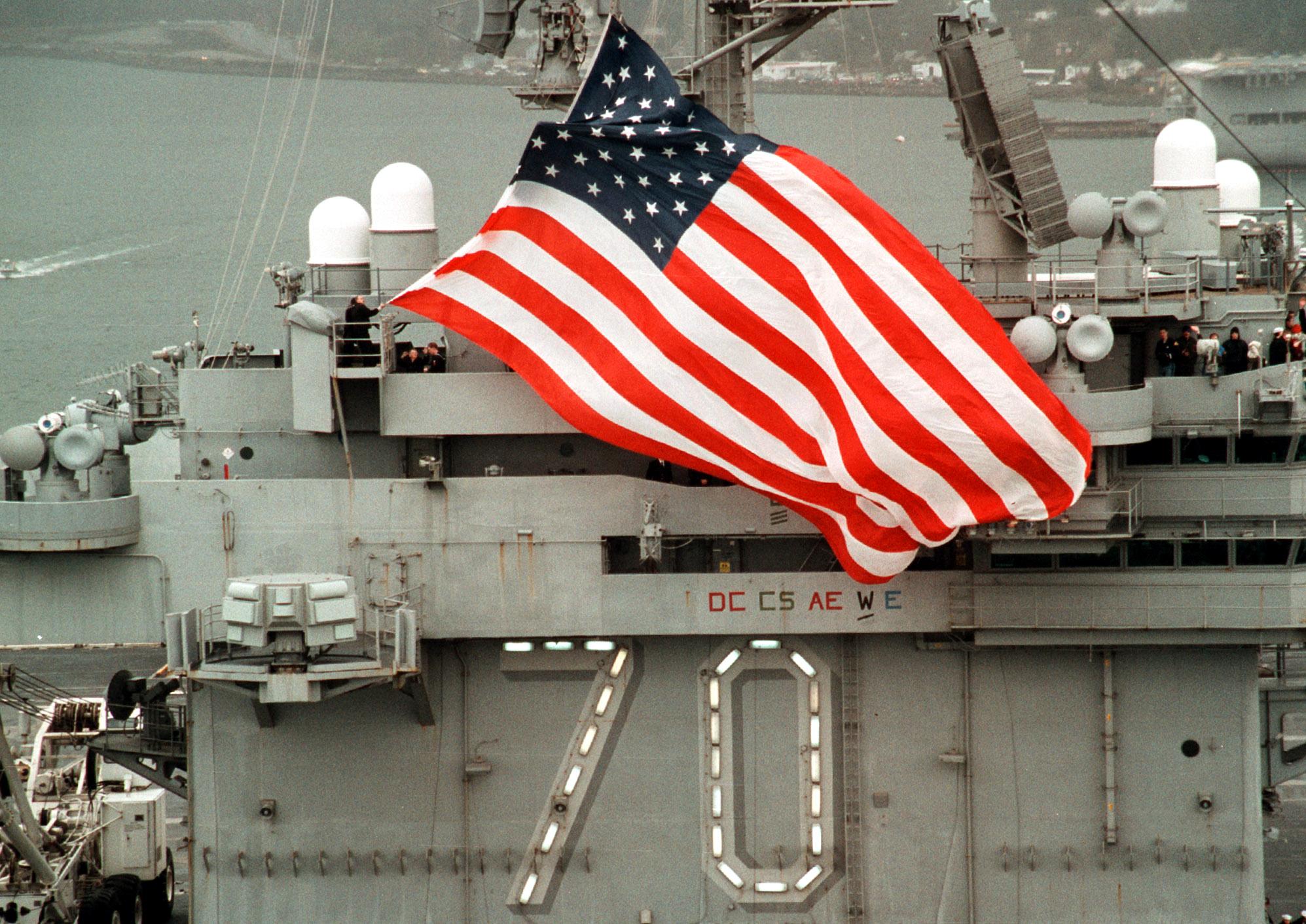 U.s. National Ensign Aboard Uss Carl Vinson.