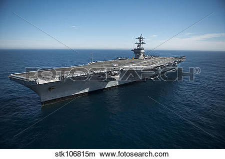 Stock Photo of The aircraft carrier USS Carl Vinson in the Pacific.