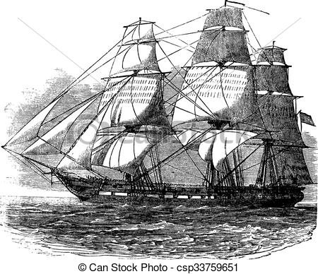 Clipart Vector of USS Constitution, vintage engraved illustration.