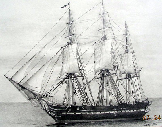 U.S.S. Constitution Old Ironsides Graphite pencil by kenjackson.