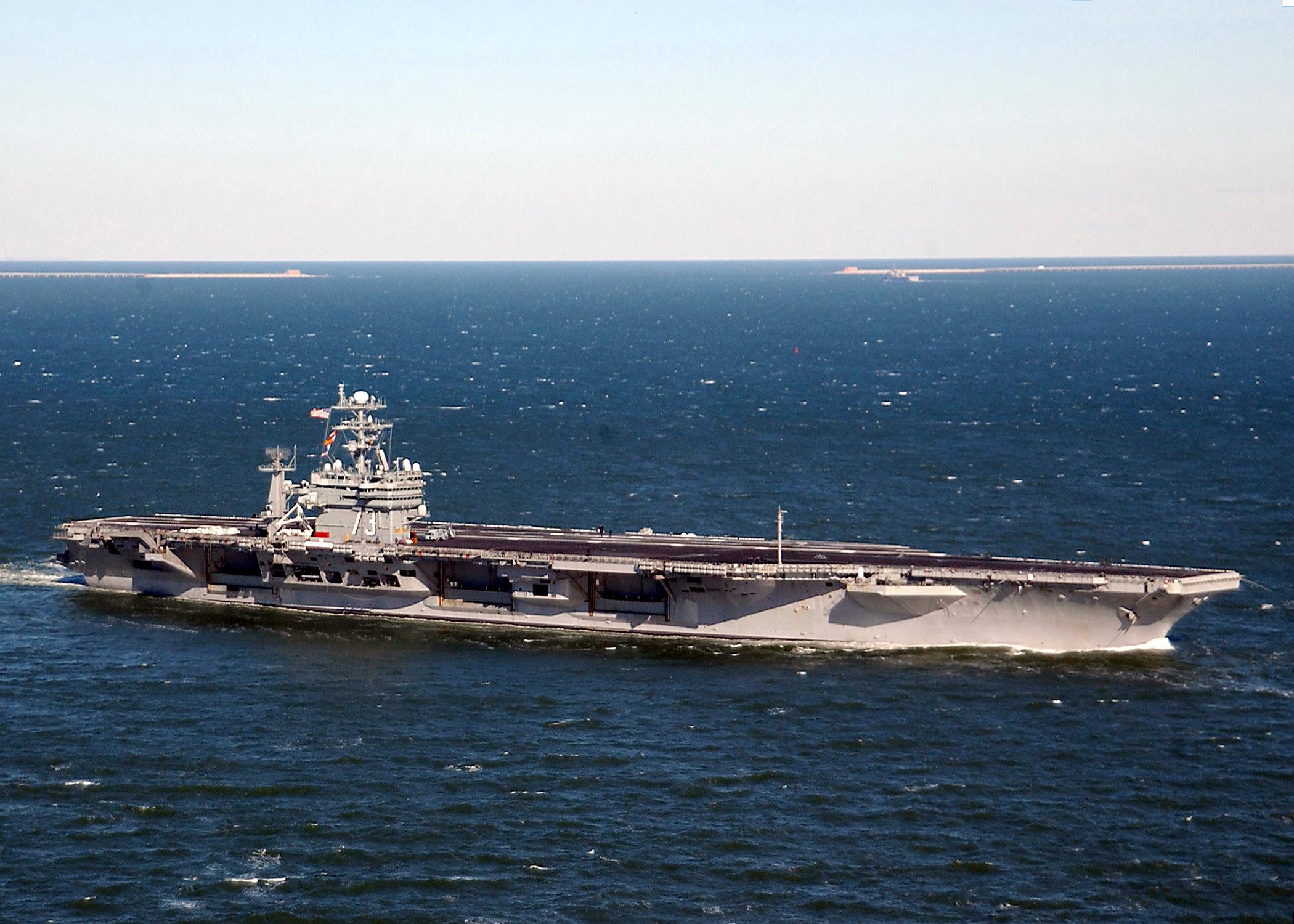 Uss George Washington (cvn 73) Sails Past The Chesapeake Bay.