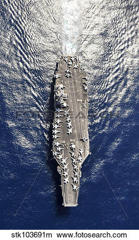 Stock Photo of Aerial view of the aircraft carrier USS Harry S.