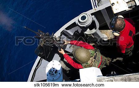 Stock Photo of A Sailor fires a .50.