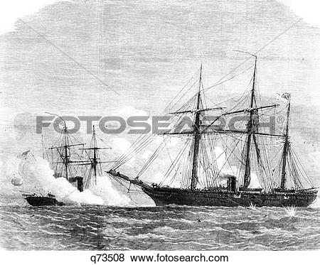 Pictures of 1800S 1860S Confederate Ship Alabama Versus The Uss.