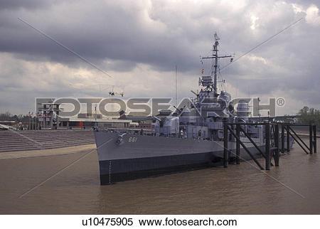 Stock Image of navy, Mississippi River, Baton Rouge, Louisiana, LA.