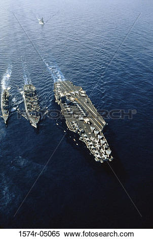 Stock Image of Aerial view of the USS Nimitz aircraft carrier with.