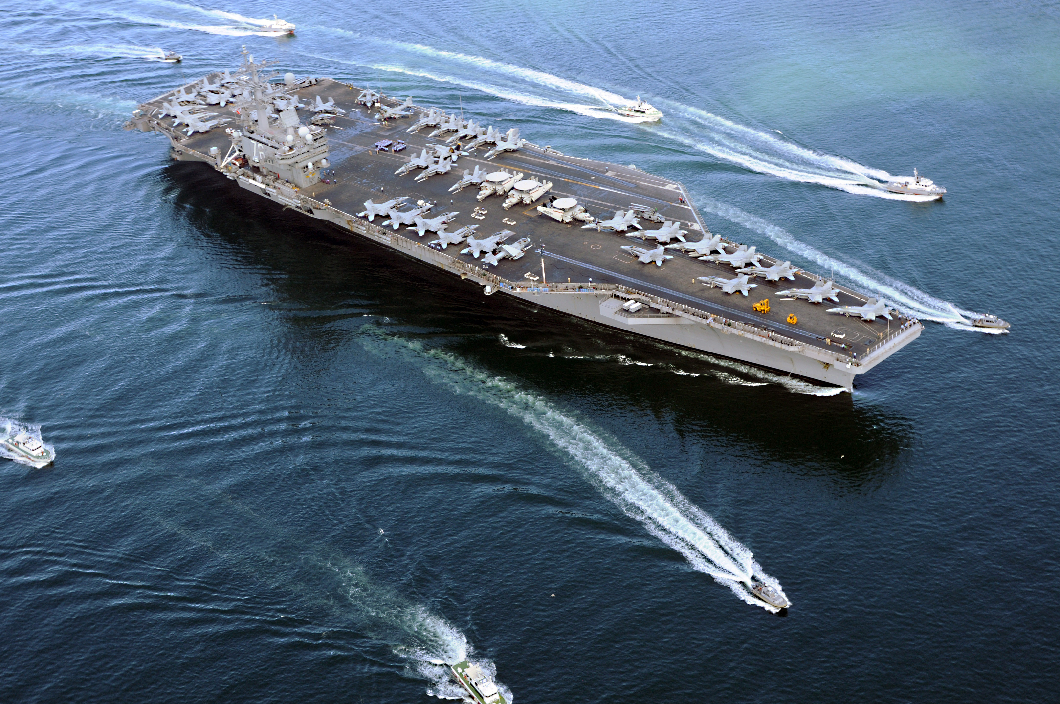 Stock Picture: Aircraft Carrier USS Ronald Reagan Surrounded by.