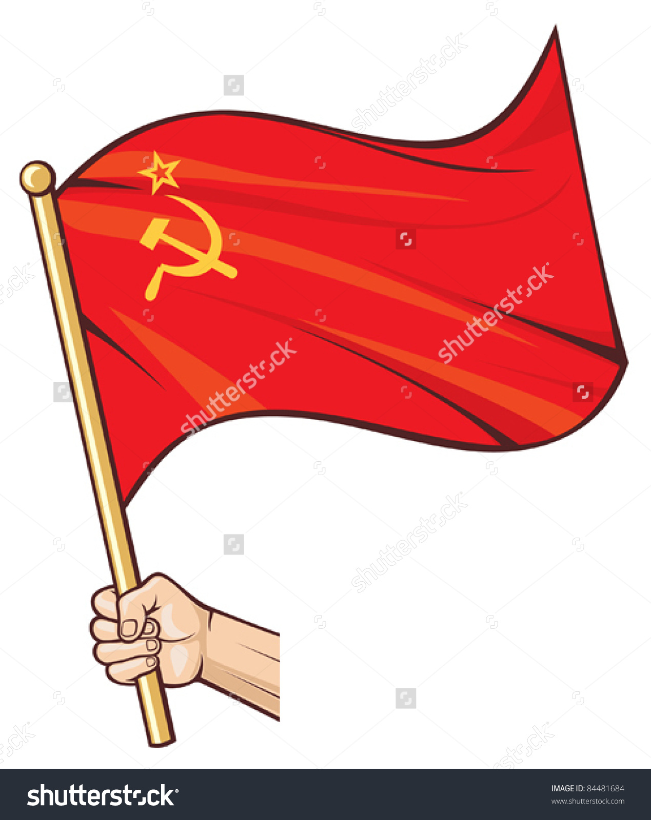 Clipart of soviet union flag in black and white.
