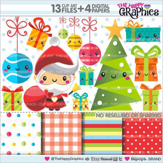 Christmas Clipart, Christmas Graphics, COMMERCIAL USE, Kawaii.