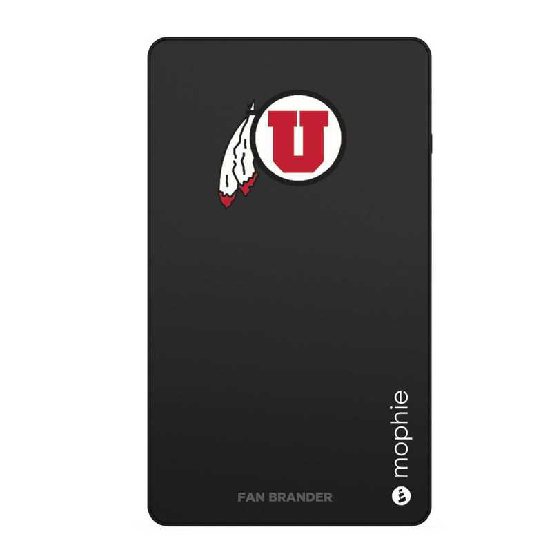 Mophie Black USB portable charger with Utah Utes logo.